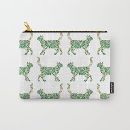 Cat Walking Silhouette - Green Vintage Damask Pattern Carry-All Pouch