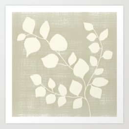Plant Silhouette - Faded Spring Green Art Print