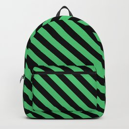Emerald Green and Black Diagonal LTR Stripes Backpack