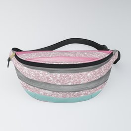 Geometric watercolor pink teal blush glitter Fanny Pack
