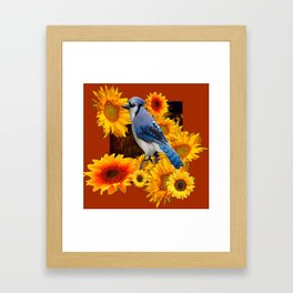 COFFEE BROWN SUNFLOWERS  & BLUE JAY Framed Art Print
