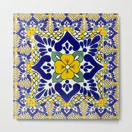 talavera mexican tile in yellow and blu Metal Print