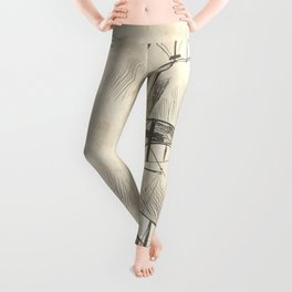 Vintage hand drawn galleon background Leggings