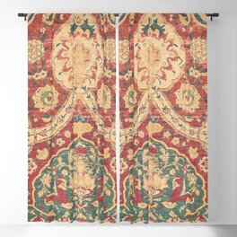 Peonies Kashan I // 16th Century Distressed Colorful Red Tan Light Blue Ornate Accent Rug Pattern Blackout Curtain