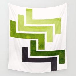 Sap Green Pattern Mid-century Modern Simple Geometric Pattern Watercolor Minimalist Art Squares Wall Tapestry