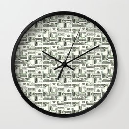 100 Dollar Motif Pattern Design Wall Clock