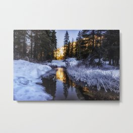 Fresh New Start winter scene snow sunrise Metal Print