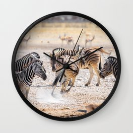 Zebras in Namibia Wall Clock