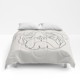 One Line English Bulldog Comforters
