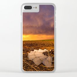 Lost In Time - Broken Windmill and Stormy Sky in Kansas Clear iPhone Case