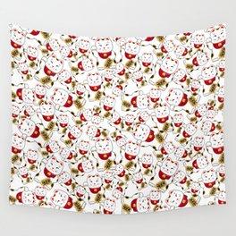 Good luck cat pattern/ red Maneki-neko Wall Tapestry