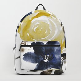Navy and Yellow Loose Watercolor Floral Bouquet Backpack