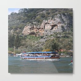 Quintessentially Dalyan: River Boats and Rock Tombs Metal Print