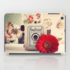Retro Camera and Red Flower (Retro and Vintage Still Life Photography) iPad Case