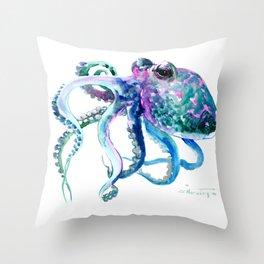 Octopus, Turquoise Green Purple Pink Octopus Design Throw Pillow