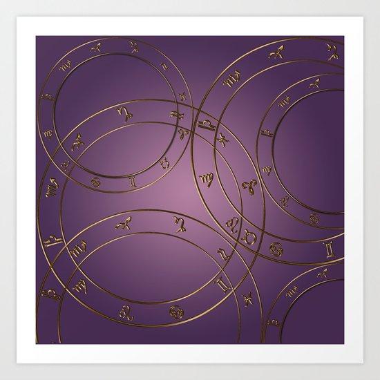 Zodiac signs and circles pink Art Print