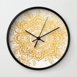 Queen Starring of Mandala-Gold Sunflower II Wall Clock