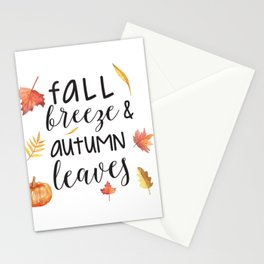 Fall breeze, autumn leaves Stationery Cards