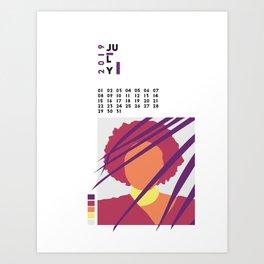 Calnedar 2019 July Art Print
