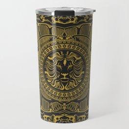 Medallion Lion Black Gold Travel Mug
