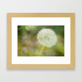 Dandelion Wishes Yellow Framed Art Print