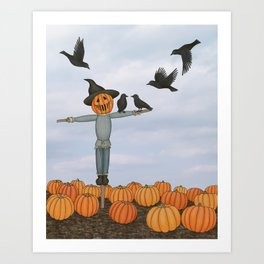 scarecrow and crows in the pumpkin patch Art Print