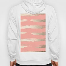 Simply Brushed Stripe in White Gold Sands on Salmon Pink Hoody