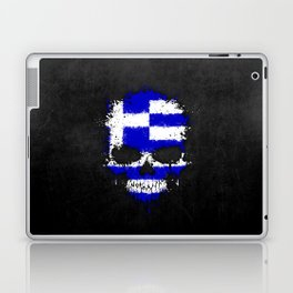 Flag of Greece on a Chaotic Splatter Skull Laptop & iPad Skin
