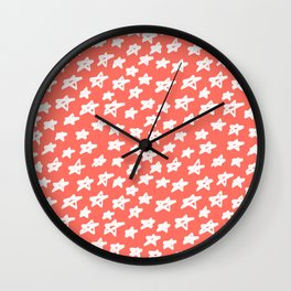 Stars Living Coral Wall Clock