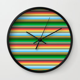 Mexican Serape Horizontal Lines Colorful Pattern  Wall Clock