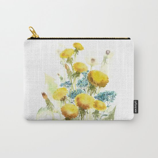 Watercolor flowers of blowball and forget-me-not Carry-All Pouch