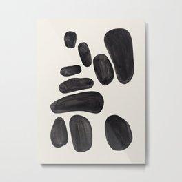 Mid Century Modern Minimalist Abstract Art Brush Strokes Black & White Ink Art Pebbles Metal Print