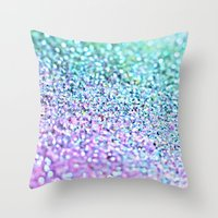 little mermaid Throw Pillows featuring Little Mermaid by Monika Strigel