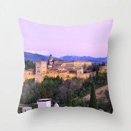 La Alhambra, Sierra Nevada and Granada. At pink sunset Throw Pillow
