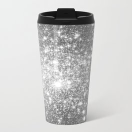 Silver Gray Galaxy Sparkle Stars Travel Mug