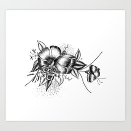 Graphic Flower Ink Art Art Print