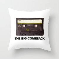 cassette Throw Pillows featuring cassette by Red Eyes Apparel