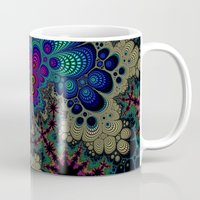novelty Mugs featuring Peacock Fractal by Moody Muse