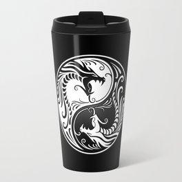 White and Black Yin Yang Dragons Travel Mug