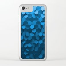 Blue hexagon abstract pattern Clear iPhone Case