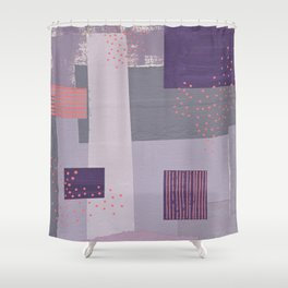 Purple, Gray and Orange Abstract Collage Shower Curtain
