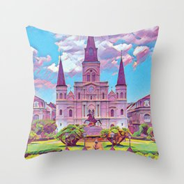 Colorful Iconic New Orleans French Quarter Architecture and Green Nature with Light Blue Sky Clouds Throw Pillow