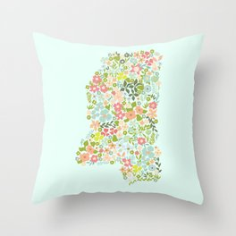 Mississippi Florals Throw Pillow