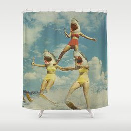 On Evil Beach - Sharks Shower Curtain