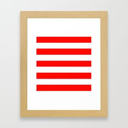 Candy apple red - solid color - white stripes pattern Framed Art Print