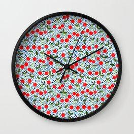 Cherries! by Veronique de Jong Wall Clock
