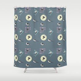 Birds And Dots Shower Curtain
