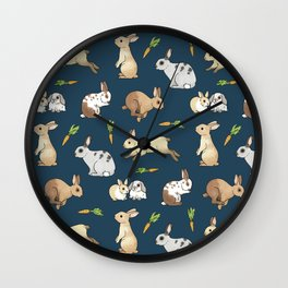 Rabbits on navy background Wall Clock