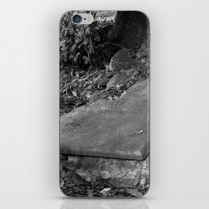 broken old grave on the green iPhone Skin