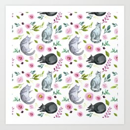 Watercolor Cats and Flowers Pattern Art Print